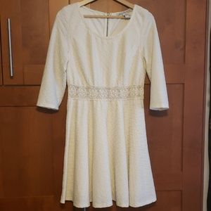 American Rag Dresses - White textured skater dress boho stretchy XL